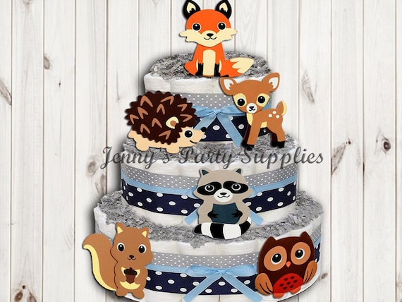 Set Of 6 Woodland Animals Baby Shower Diaper Cake Toppers Forest