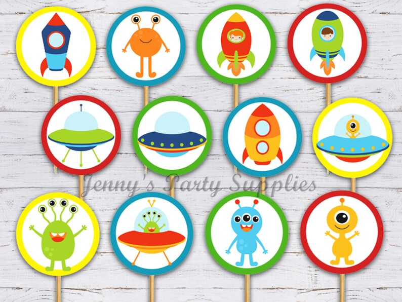 Alien Birthday Party Supplies and Decorations Outerspace Toppers 12 6 18 Alien Cupcake Toppers for Outer Space Theme Birthday Party