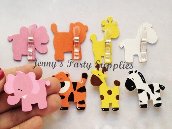24 Or 12 Elephant Safari Baby Shower Pins Jungle Favor Bags Clips