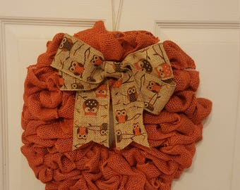 Cute fall wreath with owl bow