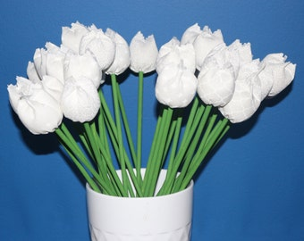 Everlasting Fabric Tulips - White Mix
