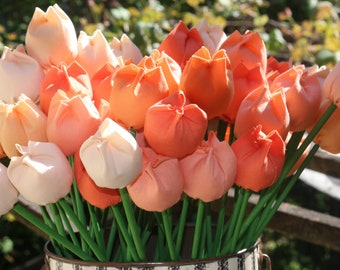 Everlasting Fabric Tulips - Coral Mix