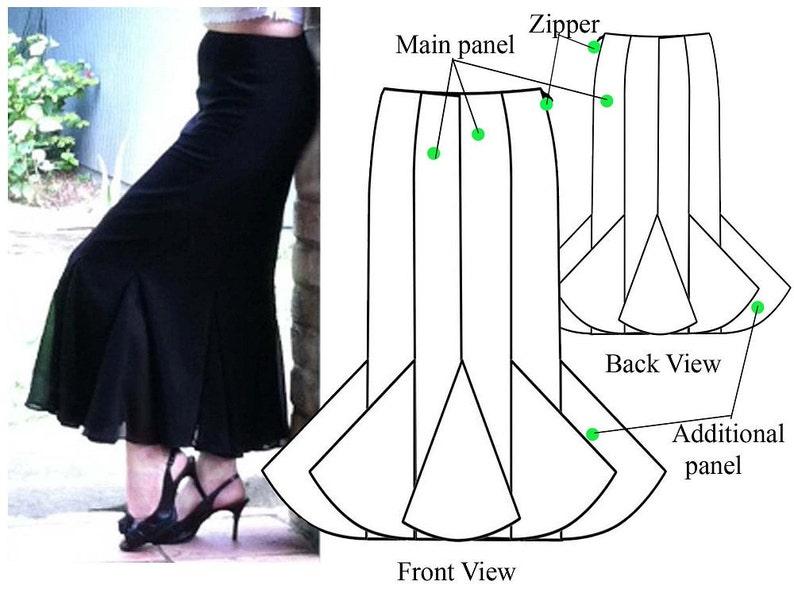 4165a4f720 Gored skirt PDF sewing pattern Godet maxi skirt   Etsy