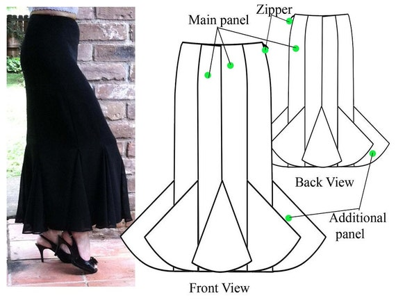 Gored skirt PDF sewing pattern Godet maxi skirt | Etsy
