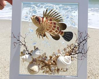 Tropical fish art, Beach glass art, gift ideas, coastal wall decor, beach wall decor, seashell art, one of a kind gift, tropical fish decor
