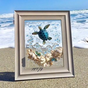 Maine Beach D\u00e9cor Wall Art Coastal D\u00e9cor Nautical Gift Lobster Shadowbox Art Framed Sea Glass Art Lobstah Nautical D\u00e9cor