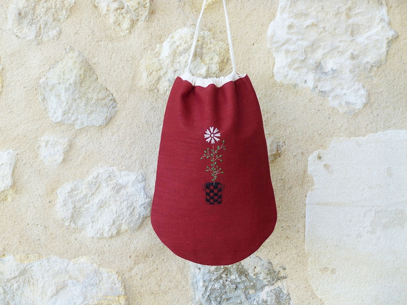 Small bag with red laces embroidery cotton lining shoes image 0