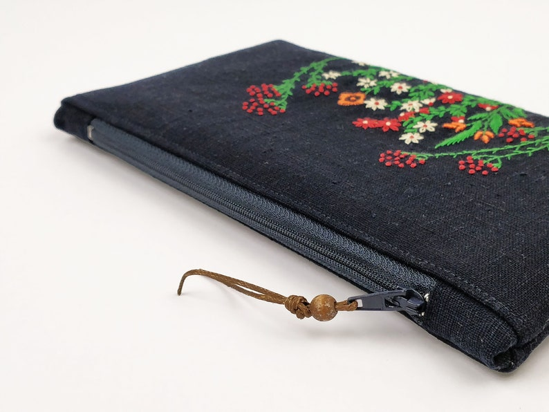 Zipper pouch embroidered by hand cotton lining makeup image 0