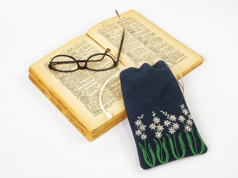 Case Navy Blue glasses hand embroidery suede cell phone image 0