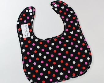 Valentines Day Baby Bib - Heart Gift - Valentines Baby - Pink Red Polka Dots