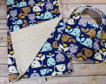 Whale Baby Gift Set - Boy Gift - Baby Shower Gift Set - Teething Bib - New Parent Gift - Whale Nursery - Baby Boy Whales