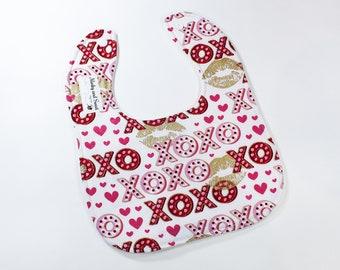 XOXO Baby Bib - Heart Gift - Valentines Baby - Black Red Hearts - Shower