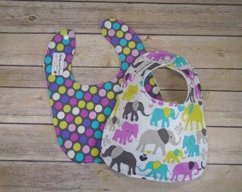 Elephant Baby Bib - Elephant Baby Gift - Baby Feeding Set - Baby Girl Bib Set - Bamboo Bib - Elephant Baby Girl - Elephant Baby Girl Bib