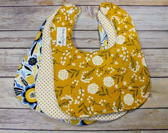 Baby Bib Set - Floral Baby Girl - Navy and Gold Baby Shower - Floral Baby Gift - Baby Gift Set - New Parent Gift - Baby Gift Girl