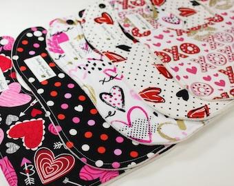 Valentine Baby - Valentines Bib - First Valentine's - Black Pink Hearts - Polka Dots - XOXO - February Baby - Shower Gift