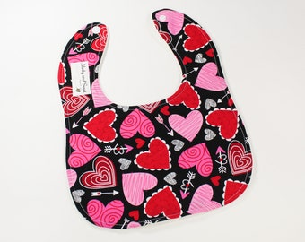Valentines Day Baby Bib - Heart Gift - Valentines Baby - Heart Baby Bib - February Heart Baby