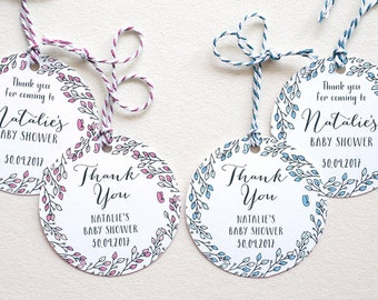 Customized Baby Shower Tags Thank You Tags Favor Tags Gift Tag Leaves Wreath Template Circle Digital Printable Leaf Wreath Gift Tags Shower
