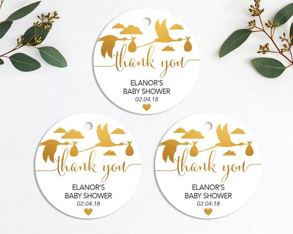 Gold Baby Shower Favor Tags Printable Customized Thank You Etsy