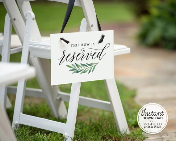 Reserved wedding signs Reserved seat sign wedding Editable reserved sign Reserved row sign Wedding reserved Reserved sign wedding table