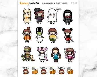 Z022 | HALLOWEEN COSTUMES Keenachi Stickers - Halloween Stickers, fall sticker, autumn stickers, bucket list stickers, to do stickers, cute