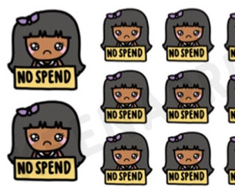 A820 | NO Spend stickers - Keenami repositionable stickers, shopping stickers, etsy stickers, online shop stickers, kawaii stickers