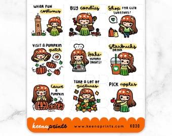 K030 | FALL PRINCESS Halloween Keenachievements stickers - Halloween Stickers, fall sticker, autumn stickers, bucket list stickers, to do