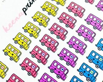 A103 | 42 SCHOOL BUS travel Repositionable Stickers Perfect for Erin Condren Life Planner, Filofax, Plum Paper & other planner scrapbooking