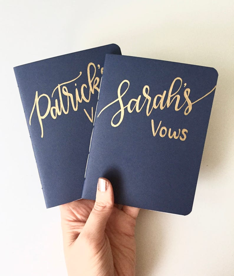 Wedding Vow Books  Custom Calligraphy  Hand Lettered Gift  image 0