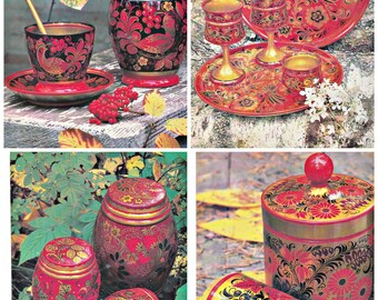 Khokhloma. Russian Art Cragts. Set of 13  Soviet Postcards. Photo.  Moscow, 1981
