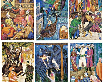 Arabik tales One Thousand and One Nights. Set of 16 Soviet Postcards Issue number two. Artist Melikhov.  Printed in Moscow, 1987