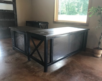 Industrial Rustic L Desk And Return (free Shipping In Continental U.S.)