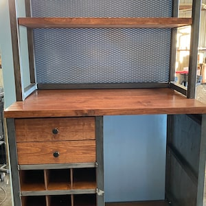 Free shipping Industrial Rustic receptionist L Desk with Door