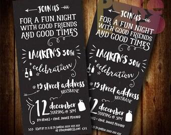 Invitations etsy au birthday invite 21st 30th 40th 50th 60th any age chalkboard black white digital printable invitation custom diy stopboris Images