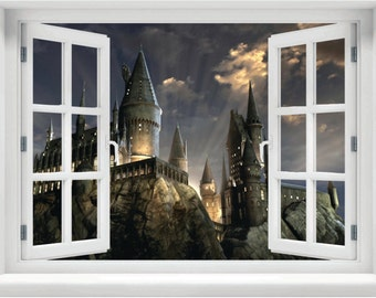Hogwarts wall mural Etsy