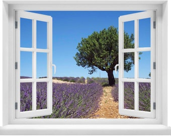 Window with a View Lavender Field Wall Mural