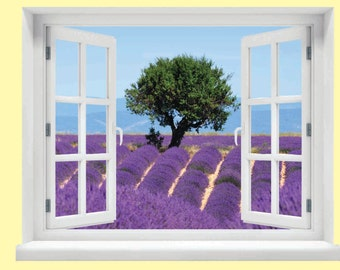 Window with a View French Lavender Field Wall Mural