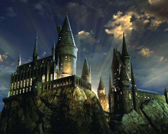 Harry Potter Hogwarts Lights at Night Wall Mural Etsy