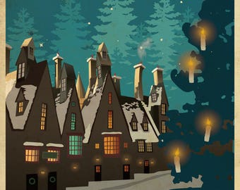 Harry Potter Hogsmeade Village Travel Poster Wall Mural