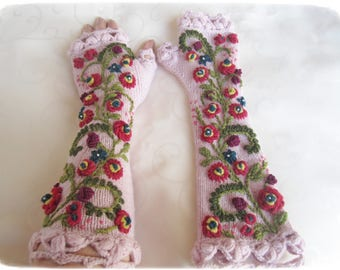 Womens pink alpaka arm warmers, hand knit lace gloves, fingerless gloves, gift for HER, Feminine Wrist Warmers