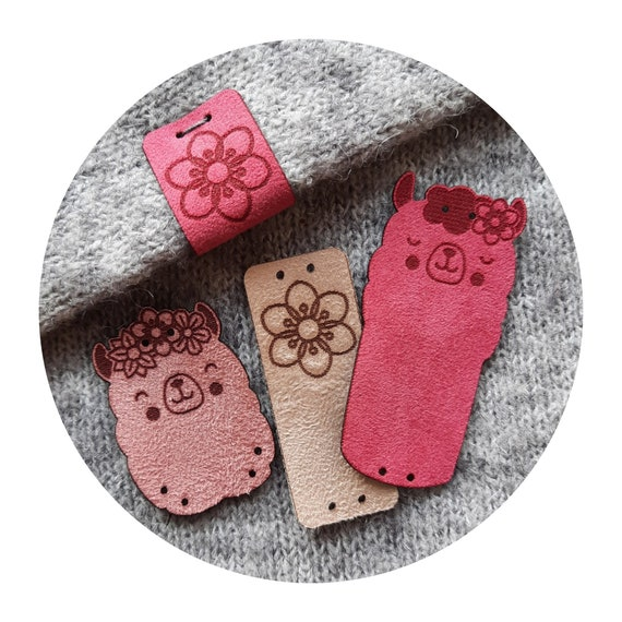 Set of 9 tags - CUTE! APLACA - faux suede tags - alpaca tags - tags for handmade - label clothing - washable labels - pink cute sweet tags