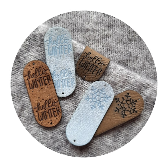 """10x PU leather tags """"Hello WINTER and snowflake"""". 8 colors. Knitting tags. Crochet tags. Tags for handmade. Winter tags. Christmas labels"""