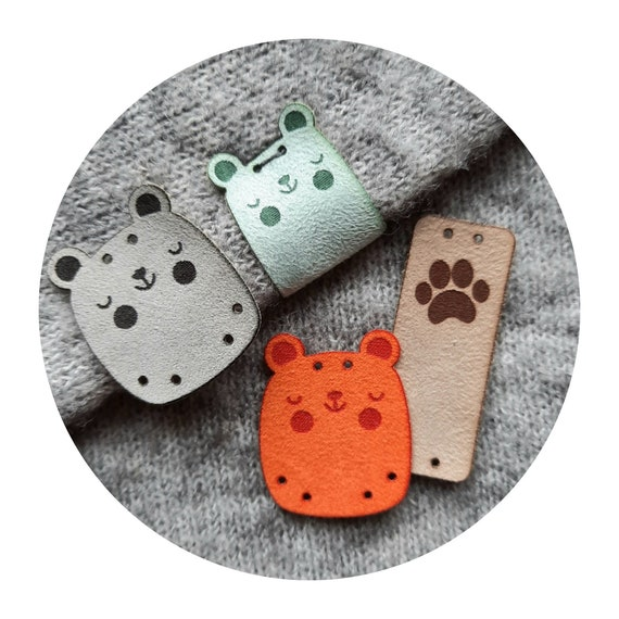 SET of 9 tags - CUTE! BEARS - fake suede - labels for kids clothes - labels for handmade items - kids room decor - for kids sewn toys - cute