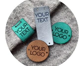 50x FAUX SUEDE tags. personalized labels. branding tags. custom logo tags. product labels. crocheting knitting tags. branding logo tags