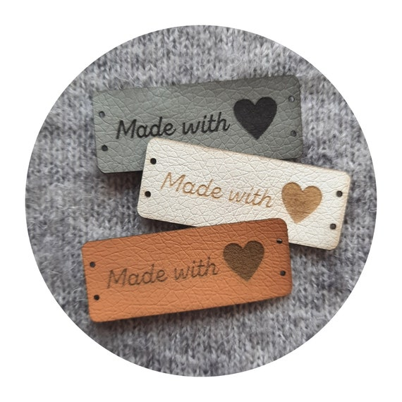 10x Made with Love! PVC leather labels, many sizes, labels for handmade items, Valentine's Day, tags for knitted, sewn, crochet item