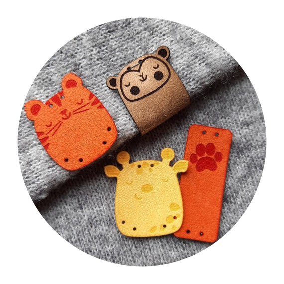 Set of 9 tags - CUTE! WILD FRENDS #2 - faux suede tags - labels for kids shirts toys - wild animal decor - tiger giraffe monkey gift