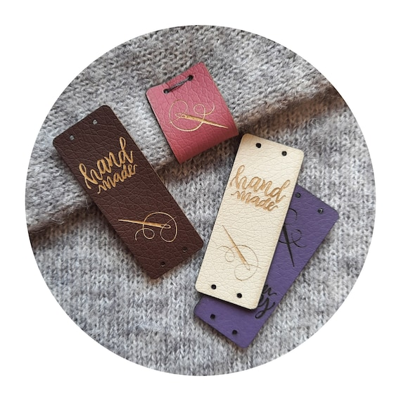 """10x Tags """"Handmade and needle"""", center fold PU leather labels, tags for sewing, tags for handmade items, tags for blanket, tags for clothing"""