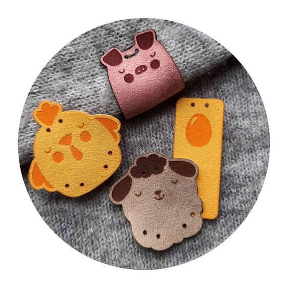 9x tags FARM FRENDS knitting tags. handmade tags. sewing tags. crochet tags. tags for handmade. pig chicken sheep labels. eastern tags. DIY