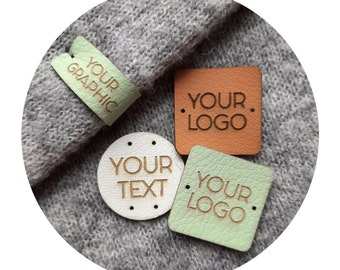 50x personalized PU leather tags. personalized labels. custom tags. branding tags. custom logo tags. product labels. knitting tags. handmade