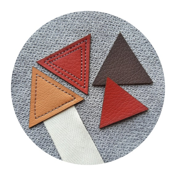 10x leather PVC pads for eyelet. fastening patches. tags. labels. triangle. 2 sizes. many colors. tags for knitted, sewn, crochet item