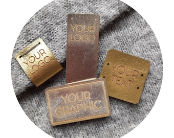 50x METALLIC PU leather tags. personalized labels. branding tags. custom logo tags. product labels. crocheting knitting tags. gold labels